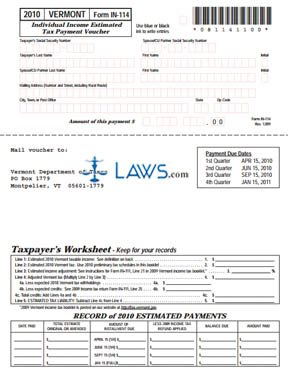 Form IN-114 Individual Income Estimated Tax Payment Voucher