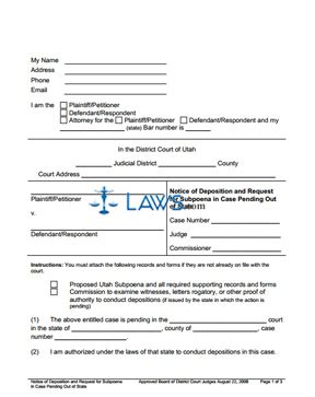 Notice of Deposition and Request for Subpoena in Case Pending Out of State