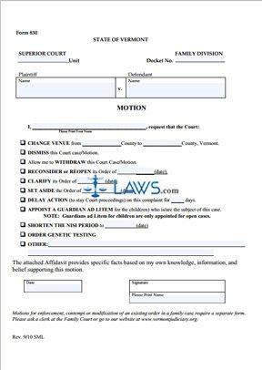 Form 830 Motion