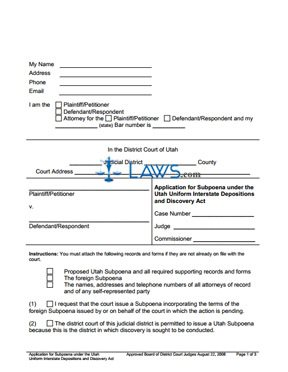 Application for Subpoena under the Utah Uniform Interstate Depositions and Discovery Act