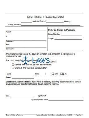 Order on Motion to Postpone