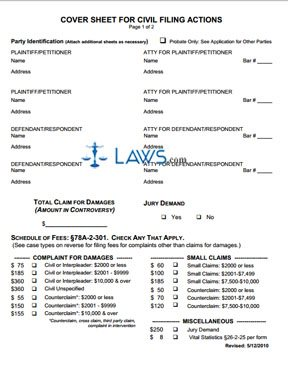 Cover Sheet for Civil Actions
