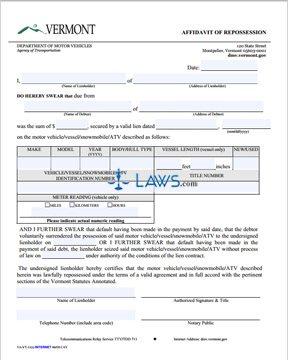 Form VT011 Affidavit of Repossession