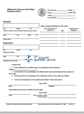 Affidavit for Filing an Out-of-State Protective Order