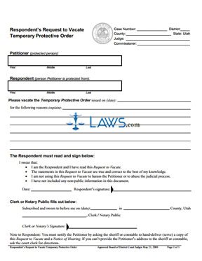 Respondent's Request to Vacate Temporary Protective Order