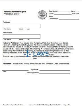 Request for a Hearing on a Protective Order