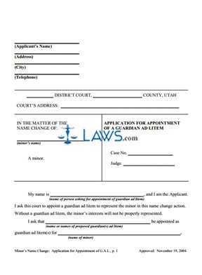 Application for Appointment of Guardian ad Litem