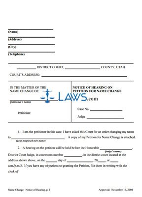 Notice for Hearing on Petition for Name Change