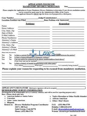 Application to Excuse Mandatory Divorce Mediation