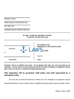 Ex Parte Civil Wrongful Lien Injunction