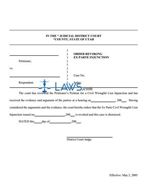 Order Revoking Ex Parte Injunction