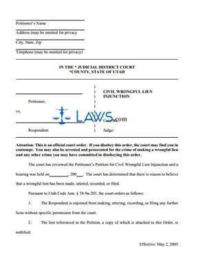 Civil Wrongful Lien Injunction