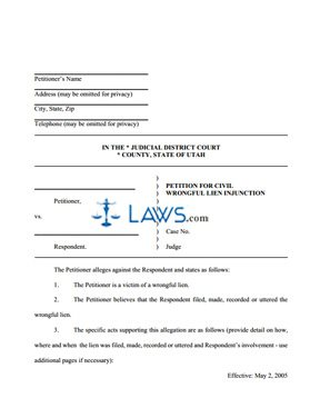 Petition for Civil Wrongful Lien Injunction