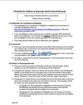 Checklist for Petition to Expunge Adult Criminal Records