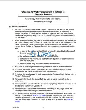 Checklist for Victim's Statement in Petition to Expunge Records