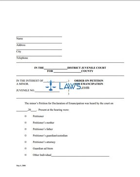 Order on Petition for Emancipation of a Minor