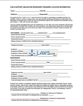 Child Support Obligation Worksheet Required Location Information