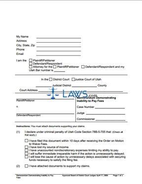 Memorandum Demonstrating Inability to Pay Fees
