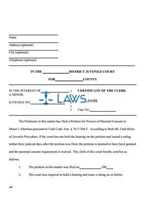Certificate Of The Clerk