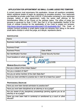 Small Claims Judge Pro Tem Application