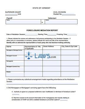 Foreclosure Mediation Report