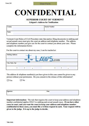 Confidential Address Form for Stalking or Sexual Assault