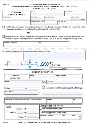 Intention to Pursue or Withdraw Complaint for Order Against Stalking or Sexual Assault