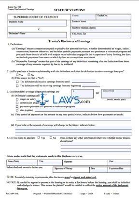 Trustee Disclosure of Earnings