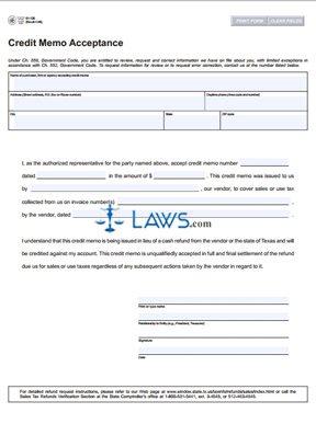 Form 01-136 Credit Memo Acceptance
