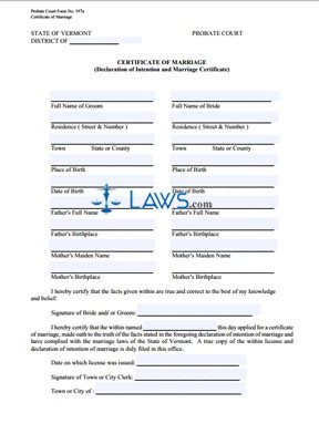 Certificate of Marriage (Declaration of Intention and Marriage Certificate)