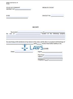 Probate Court Receipt