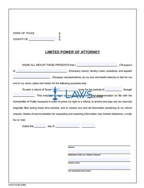 form 01 137 limited power of attorney