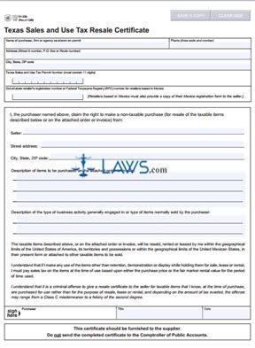 Form 01-339 Texas Sales and Use Tax Exemption Certification