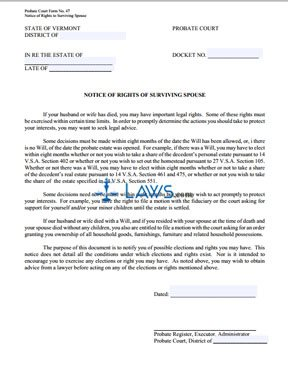 Notice of Rights of Surviving Spouse