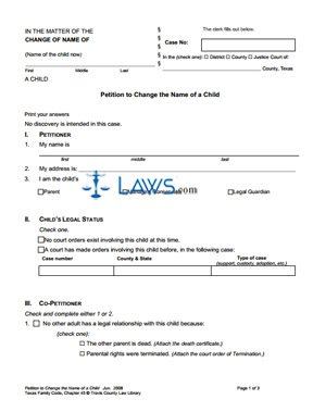 Form Name Change Minor Packet - Minor Forms - | Laws.com