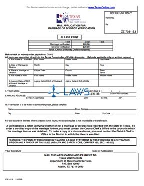 Form VS 142.9 Application for Marriage or Divorce Verification