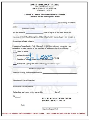 Form Affidavit of Consent of Parent or Guardian for The Marriage of a Minor - Collin County