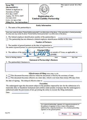 Form 701 LLP Application