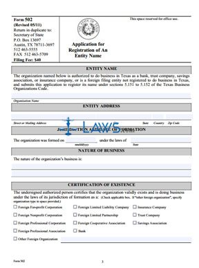 Form 502 Name Registration