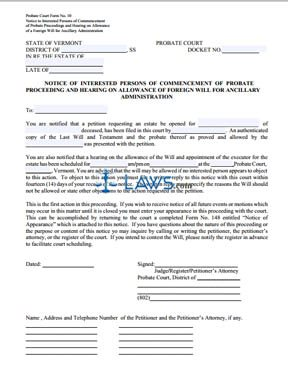 Notice of Commencement of Probate Proceeding and Hearing on Allowance of a Foreign Will