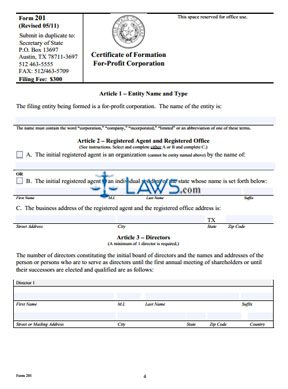 Form 201 Certificate of Formation for a For-Profit Corporation