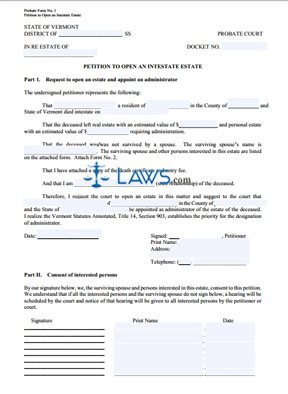 Forms to Initiate Intestate Estate Process