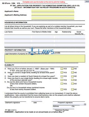 Form PT-38C Application for Property Tax Homestead Exemption