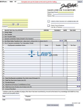 Form 1934 Sales and Use Tax Return