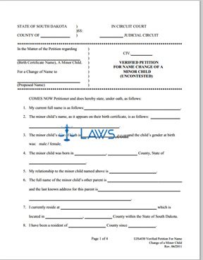 Form UJS-030 Verified Petition Name Change Child - South Dakota ...