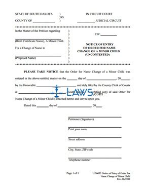 Form UJS-035 Notice of Entry Name Change Child