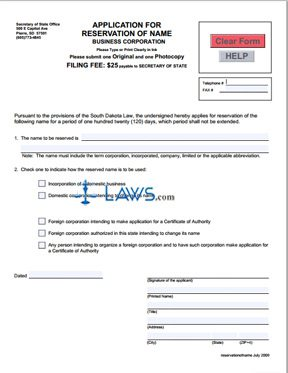 Form Application for Reservation of Name (Corporation)
