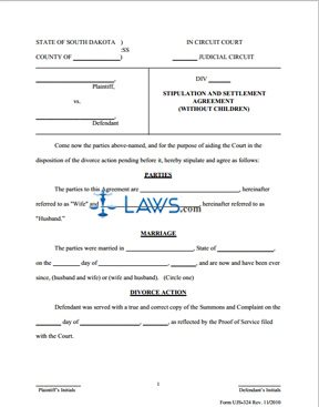 Form UJS 324 Stipulation & Settlement Agreement Without Children