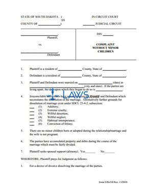 Form UJS 310 Complaint Without Children