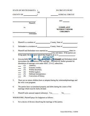 Form UJS 310 Complaint Without Children